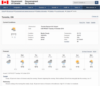 Environment Canada - Improved Weather Page - Themes and ...