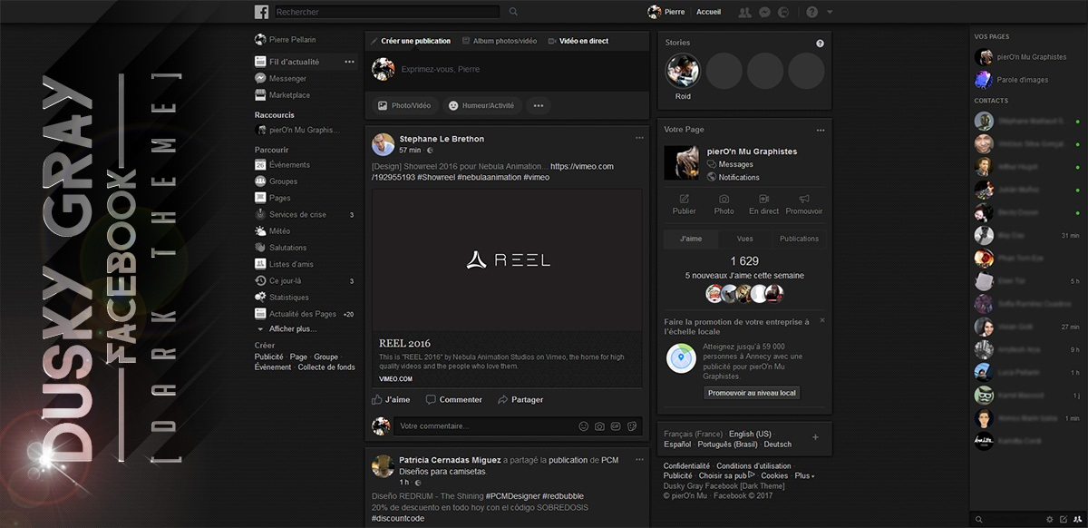 Dusky Gray Facebook [Dark Theme] | Userstyles org