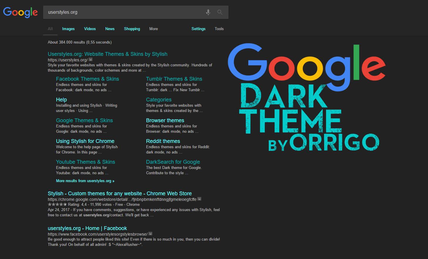 google dark theme orrigo userstyles org