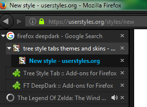 Firefox FT DeepDark theme for Tree Style Tab | Userstyles org