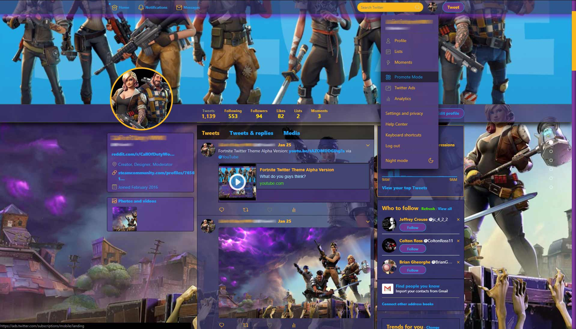 Fortnite Theme For Twitter Userstyles Org