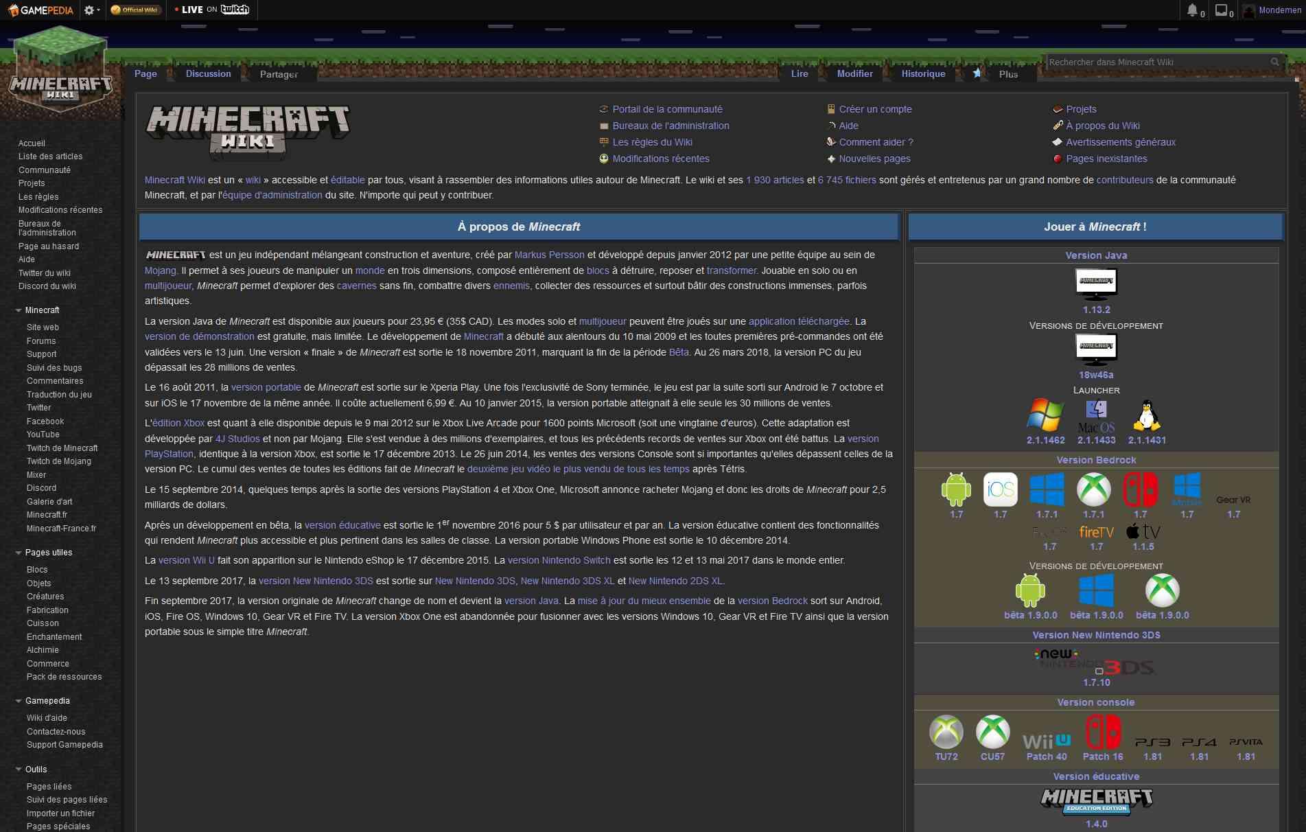 Minecraft Wiki FR - Night Mode   Userstyles org