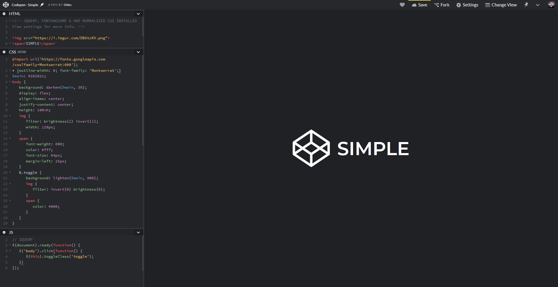 Codepen - Simple | Userstyles org